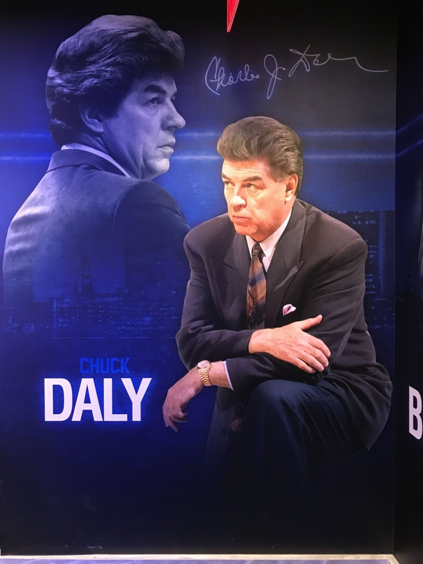 Lot 19 - Chuck Daly - Vinyl Wall Mural , Dim. 83 in w x 116 in h , Location: Locker Room ***Note from