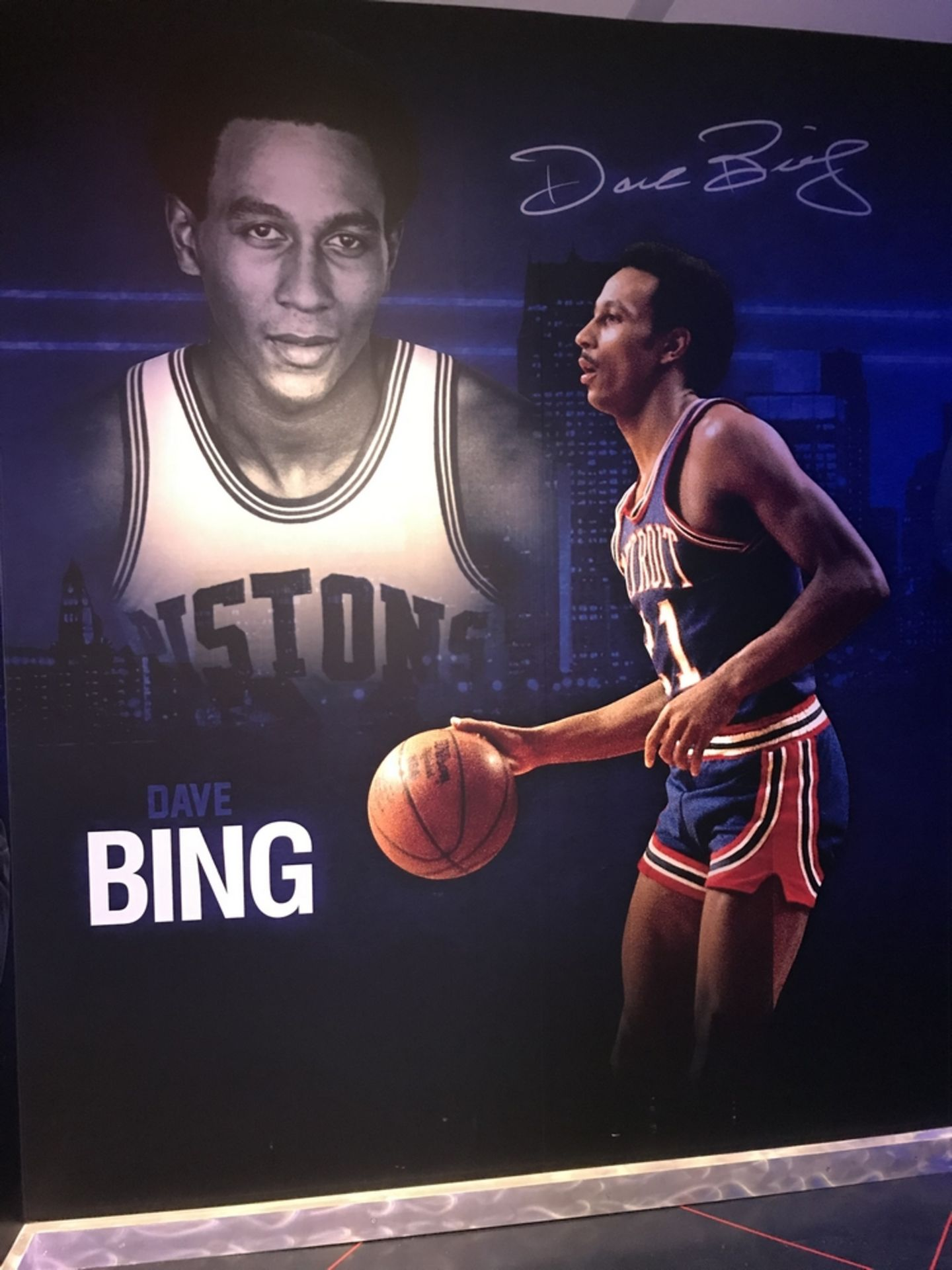 Lot 20 - Dave Bing - Vinyl Wall Mural , Dim. 93 in w x 116 in h , Location: Locker Room ***Note from