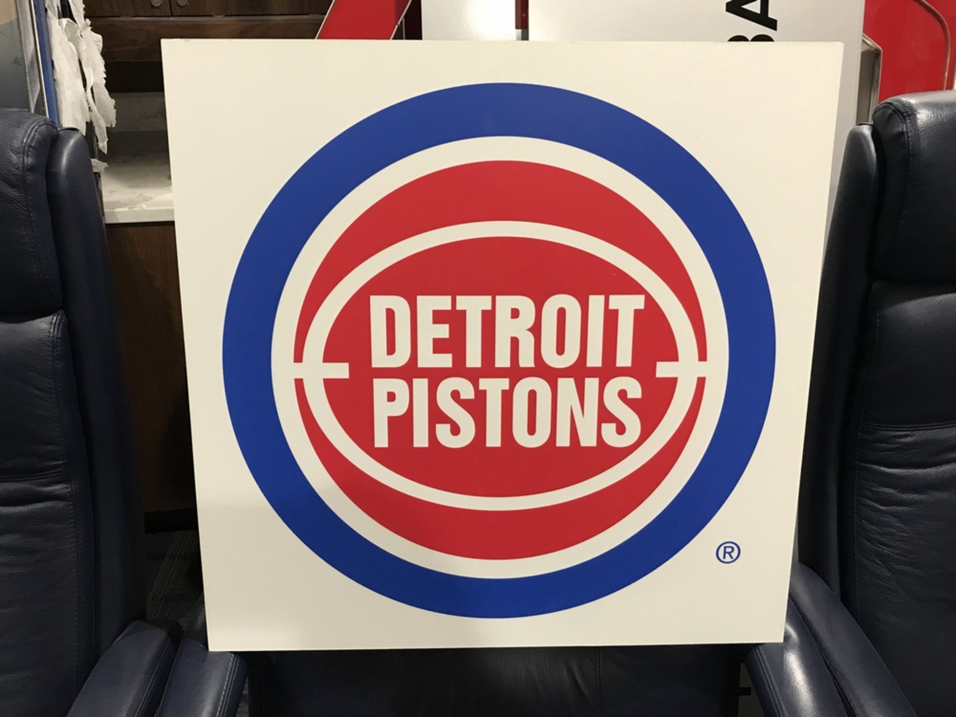 Lot 18G - Vintage Pistons Sign , Dim. 24 in x 24 in , Location: Suite ***Note from Auctioneer***This lot