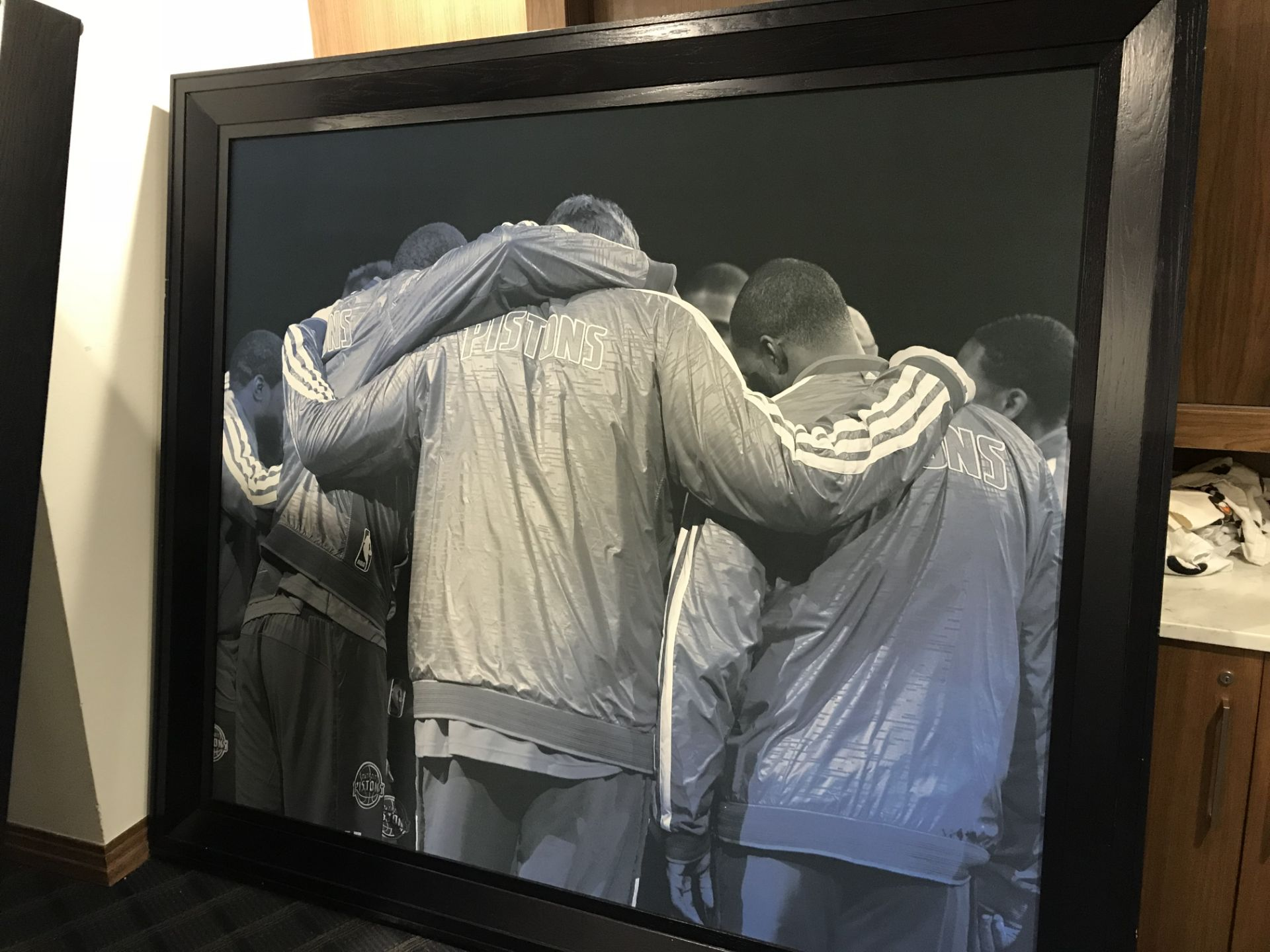 Lot 18D - Pistons Team Huddle , Dim. 90 in x 78 in , Location: Chairmans Club ***Note from Auctioneer***This