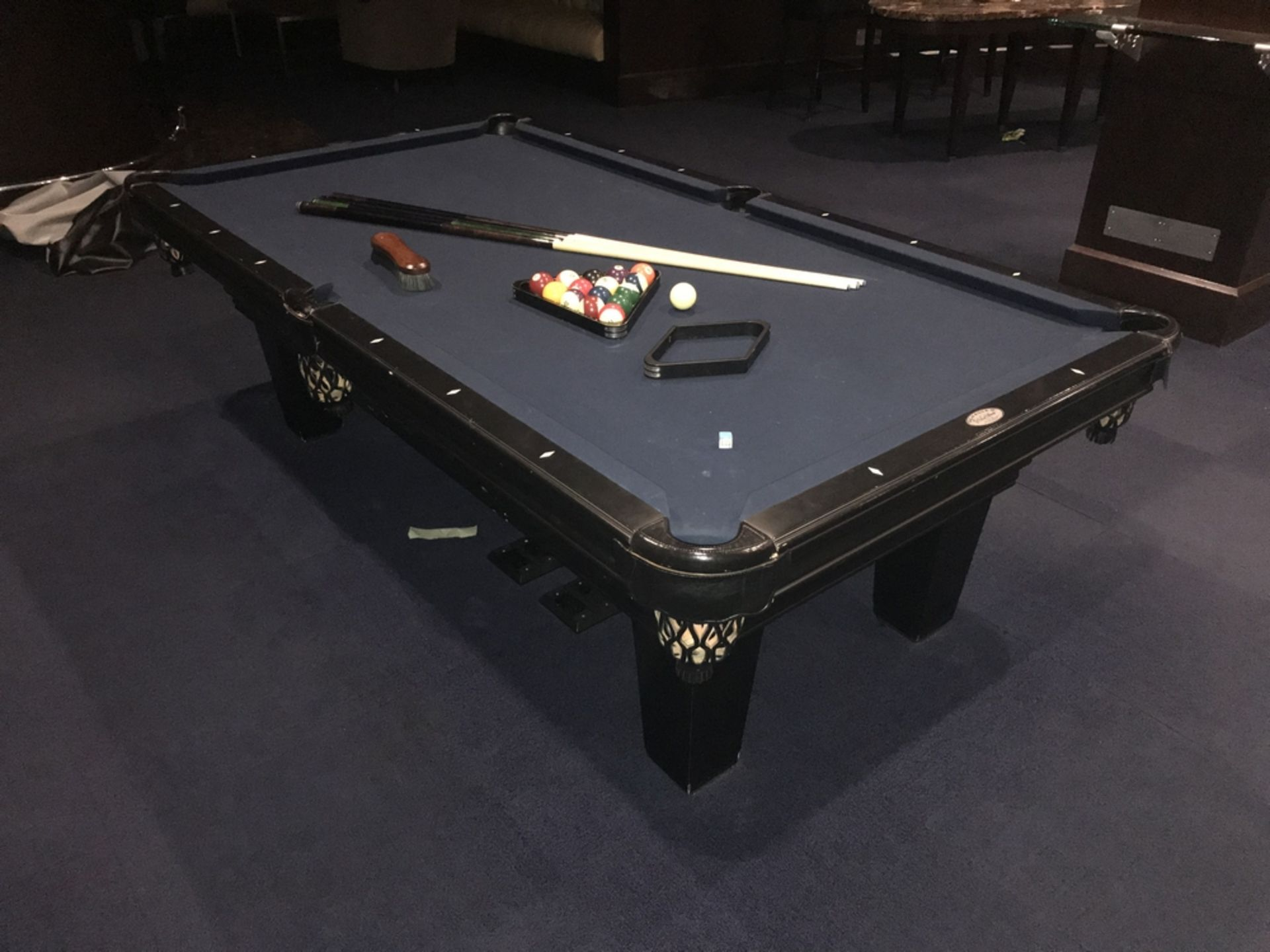 Lot 1D - Pool Table, Sticks, Balls, Cover , Dim. , Location: Palace ***Note from Auctioneer***This lot will