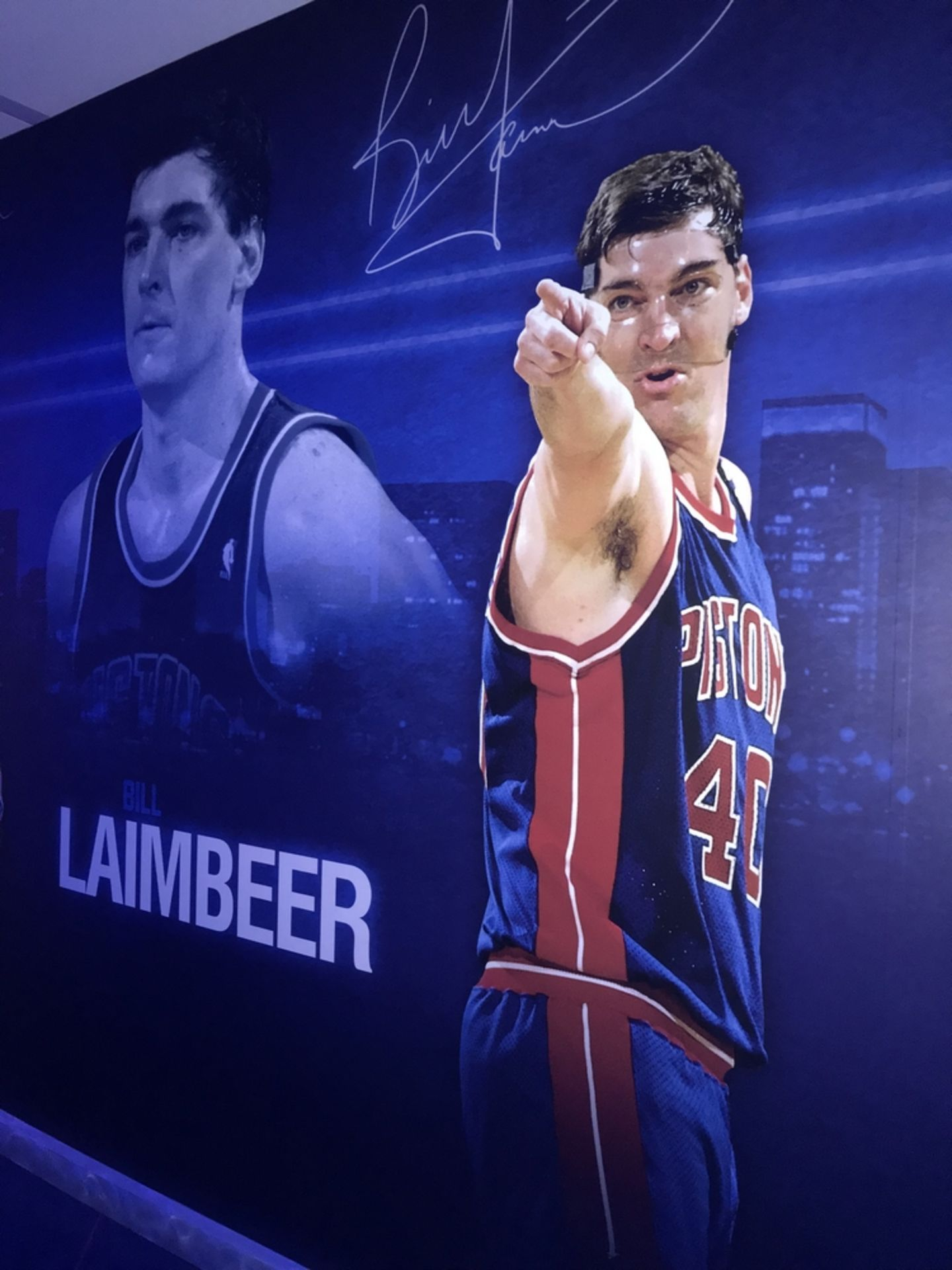 Lot 22 - Bill Laimbeer - Vinyl Wall Mural , Dim. 96 in w x 116 in h , Location: Locker Room ***Note from