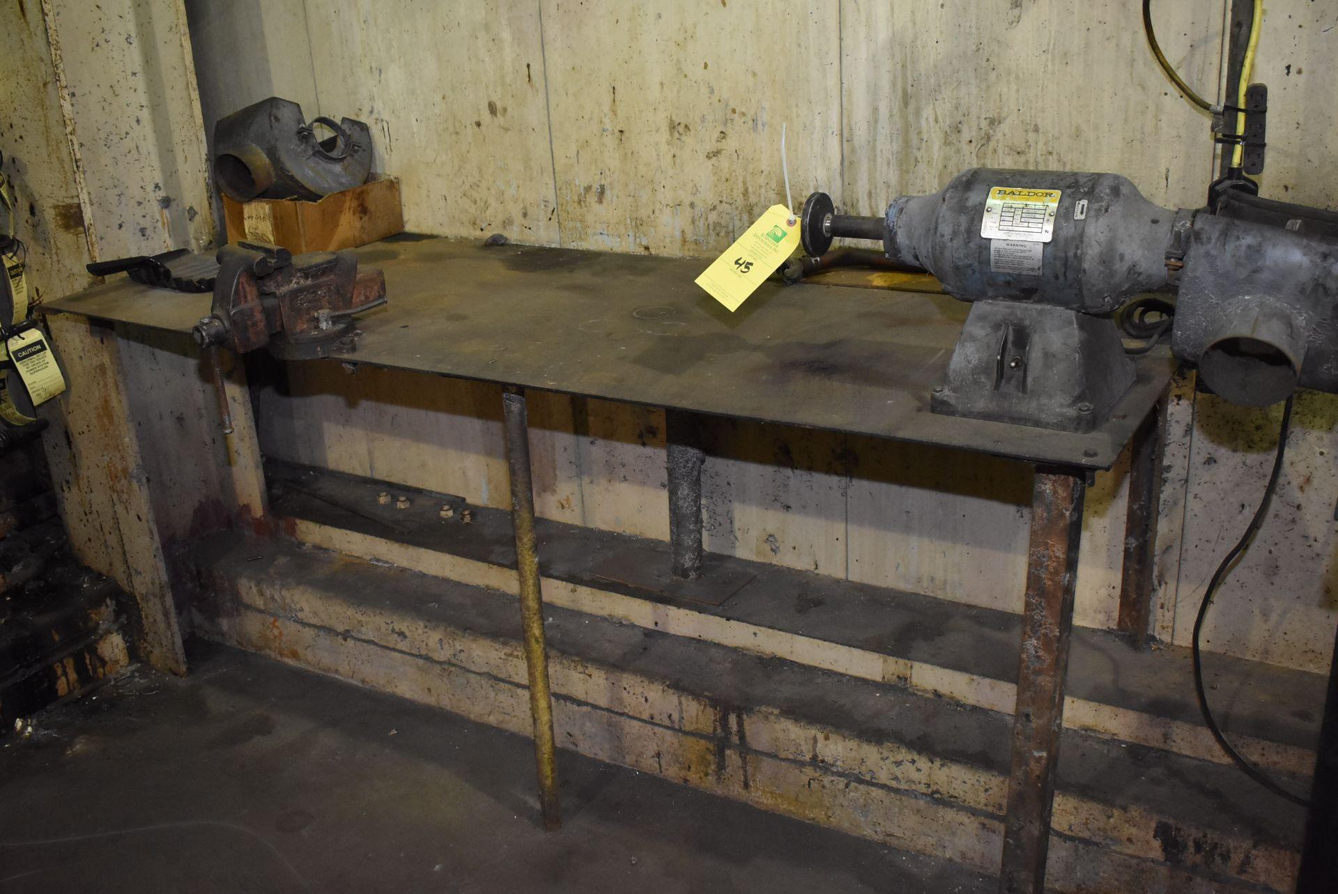Lot 45 - Baldor Grinder Steel Table, Vise