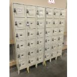 Tan Lockers, 78 in tall x 6 ft wide x 1 ft deep (Late Pickup: This Lot May Not Be Picked Up Until