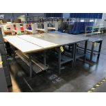 (4) Work Tables, (1) 39 in wide x 8 ft long x 3 ft tall; (2) 28 in wide x 8 ft long x 3 ft tall; (1)