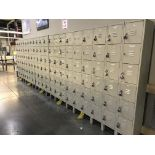 Tan Lockers, 78 in tall x 21 ft wide x 1 ft deep (Late Pickup: This Lot May Not Be Picked Up Until