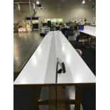 (3) Double Sided Work Tables, 42 in wide x 8 ft long x 3 ft tall (Late Pickup: This Lot May Not Be