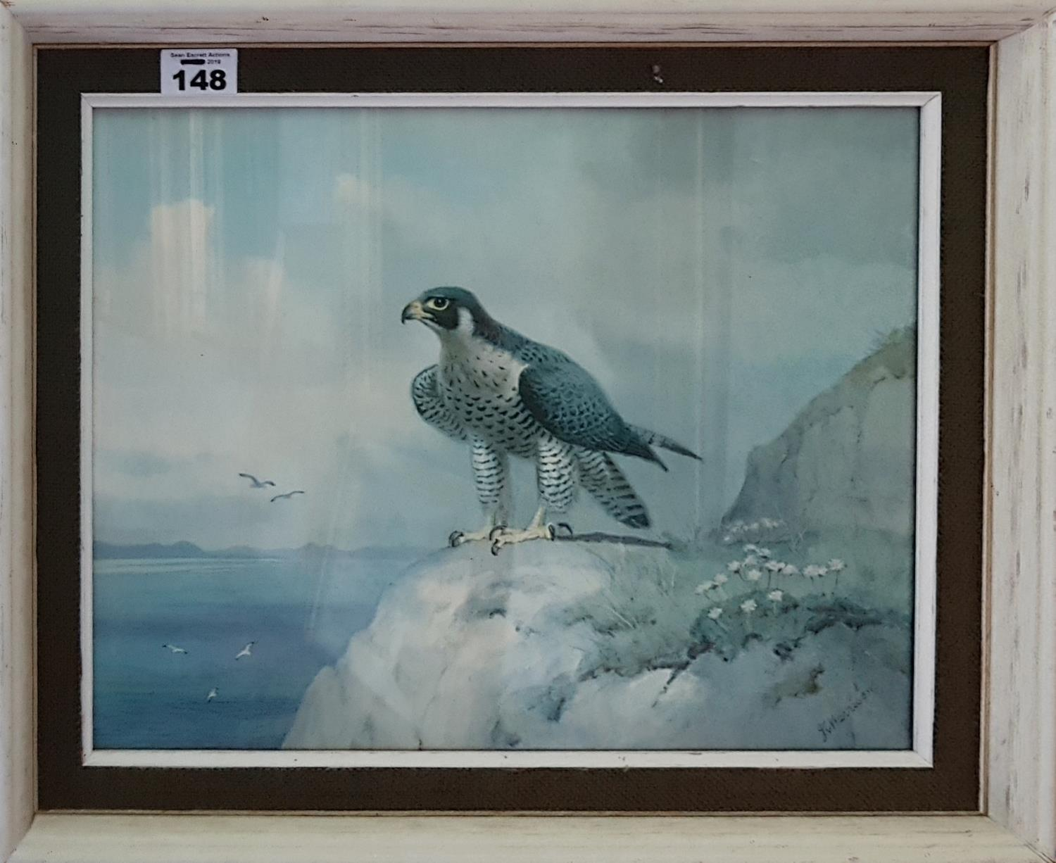 Lot 148 - A pair of Coloured Prints of Birds of Prey after a painting by J C Harrison. 37cm.