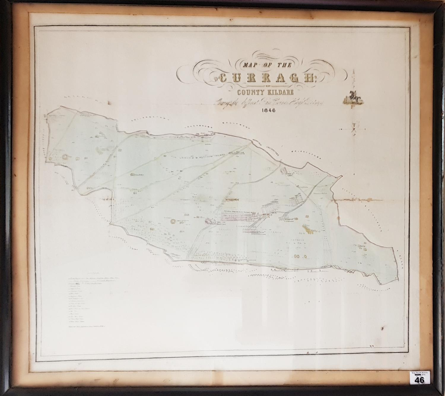 Lot 46 - A Vintage Map of The Curragh 1846. 63cm.