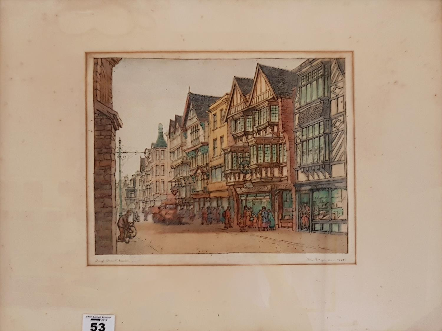 Lot 53 - A 19th Century hand coloured Engraving of Exeter. 28cm.