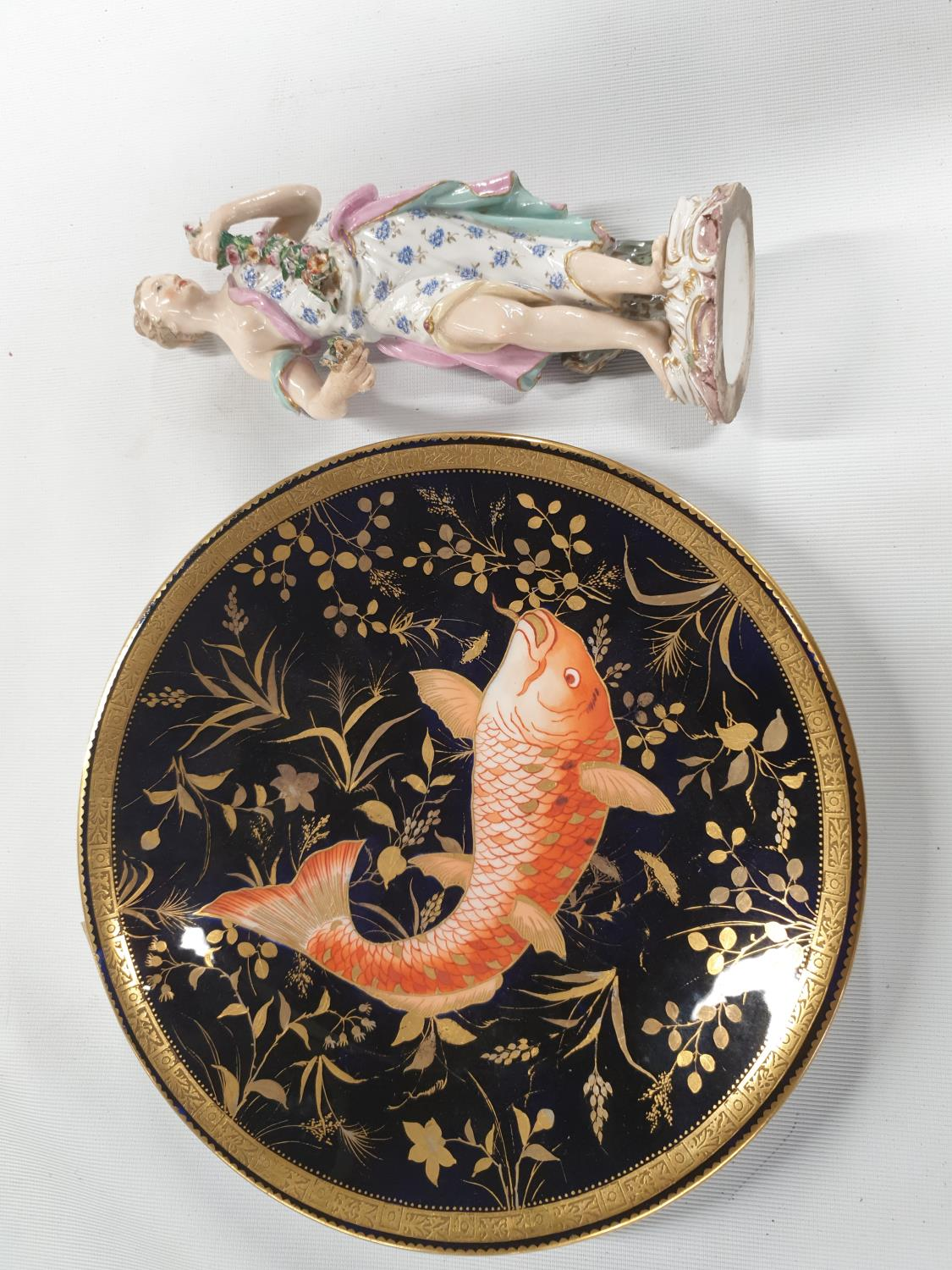 Lot 358C - A Royal Crown Derby Plate with hand painted decoration along with a porcelain Figure.