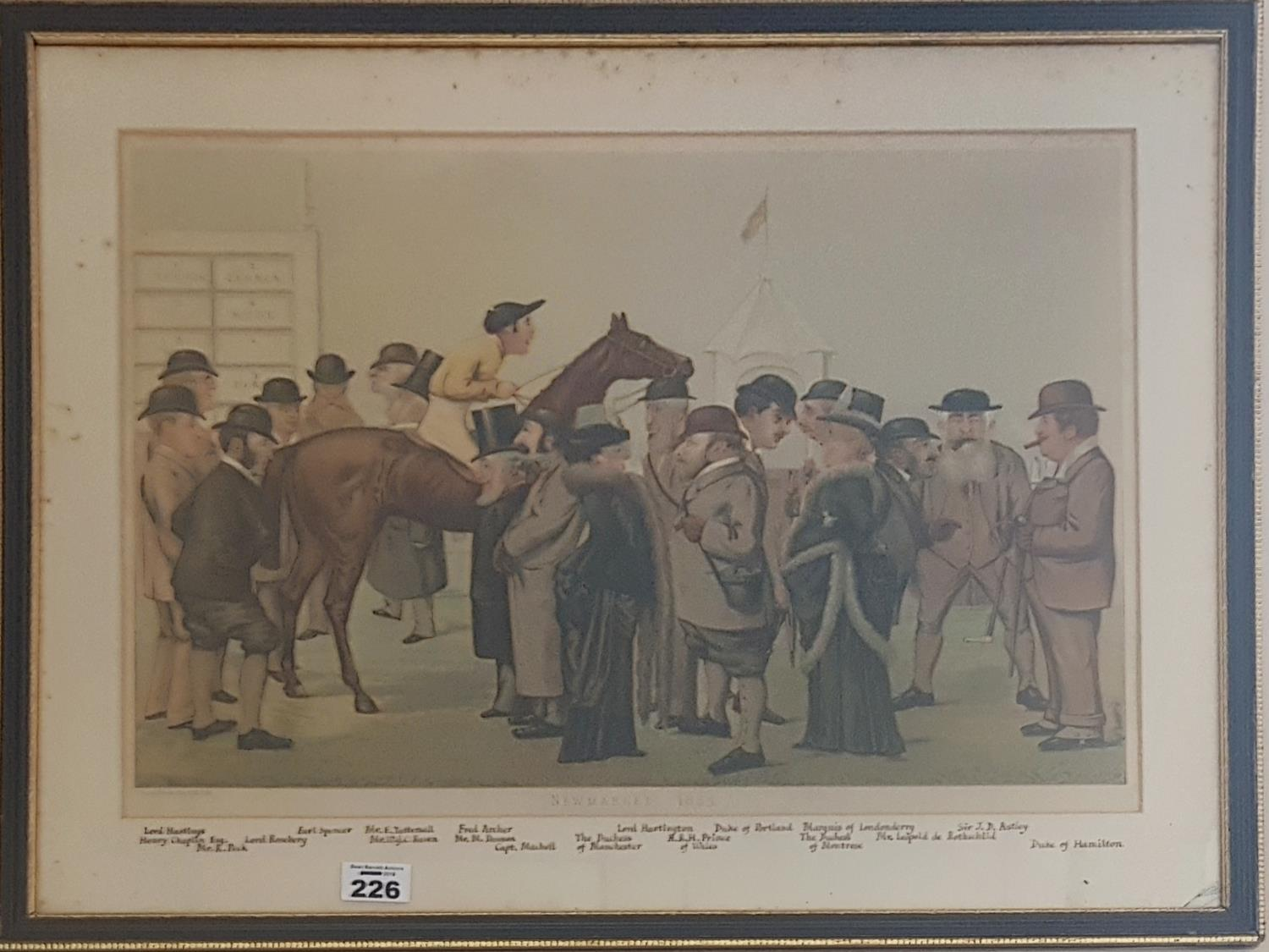 Lot 226 - A 19th Century Coloured Print 'Newmarket 1885' after Brooks. With all people named below. 63cm.