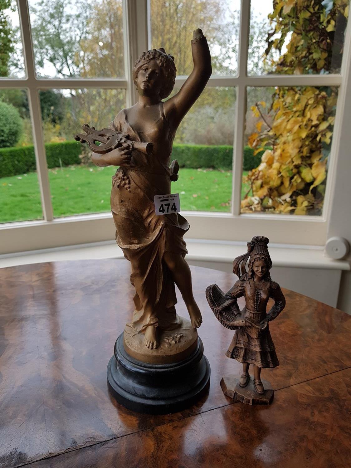 Lot 474 - A 19th Century Spelter Figure and one other. 39 cms tallest.