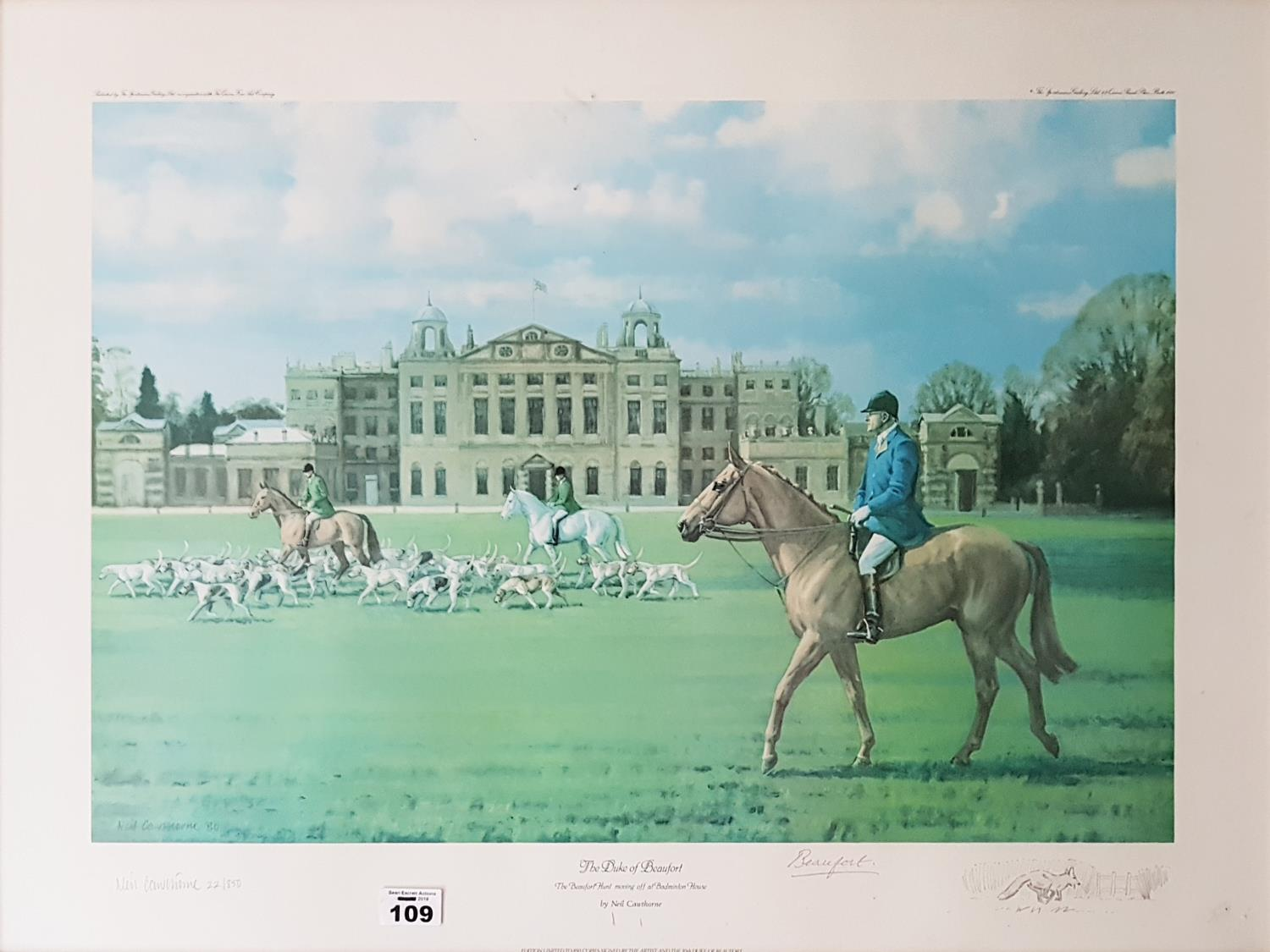 Lot 109 - A signed Coloured Print of The Duke of Beaufort. 72cm.