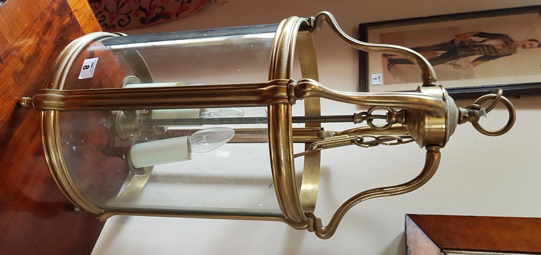 Lot 8 - A good Brass Lantern (missing 2 glass panels). 63cm.