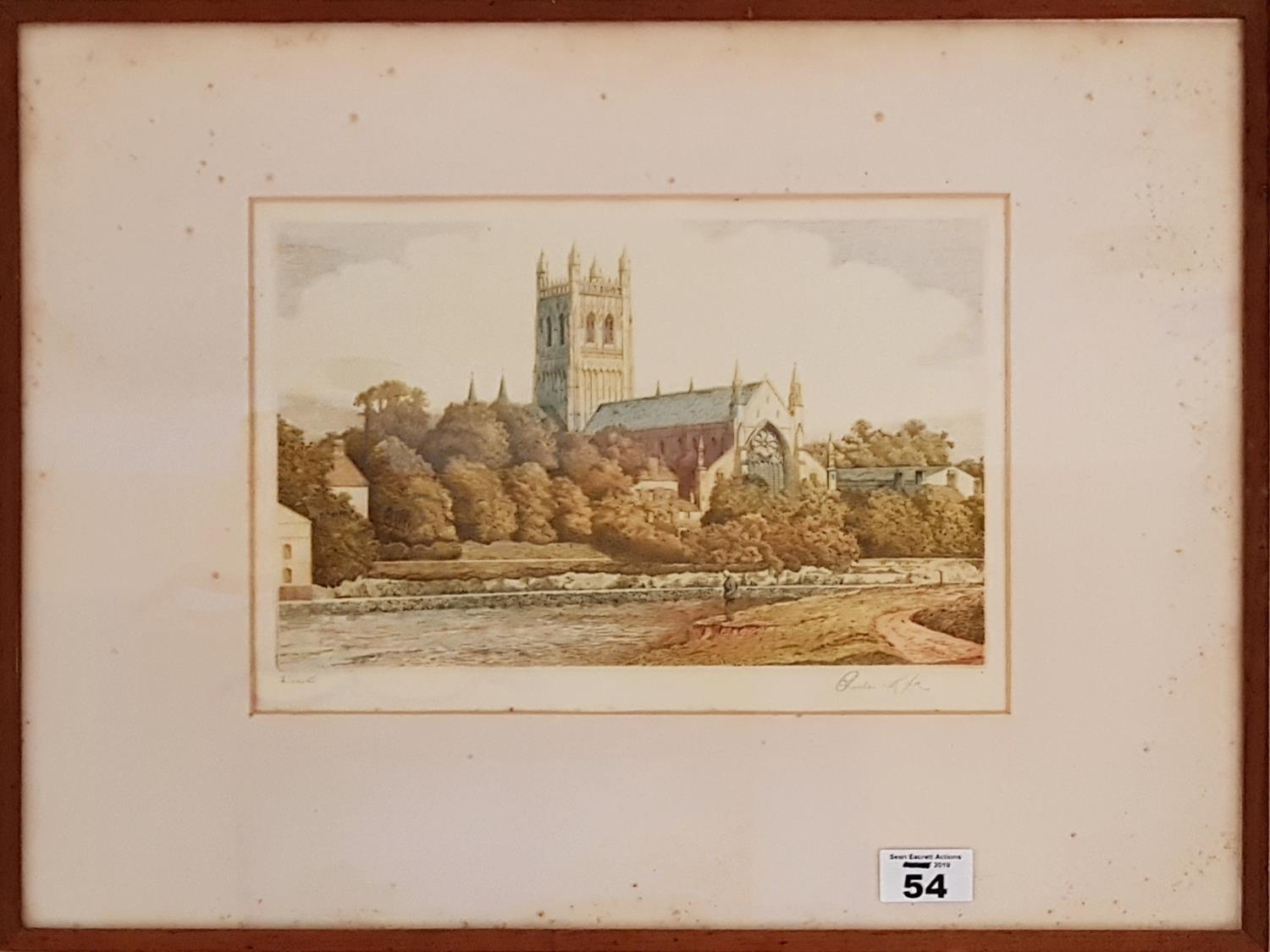 Lot 54 - A 19th Century hand coloured Engraving possibly of Exeter. 28cm.
