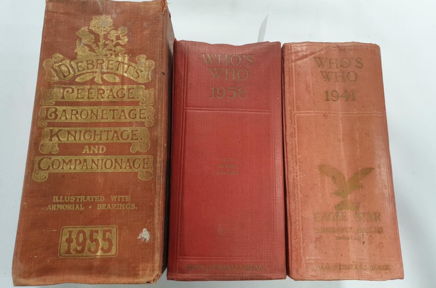 Lot 11 - The Who's Who 1941 & 1958 along with Derbrets Peerage, Baronetage, Knightage and Companionage 1955
