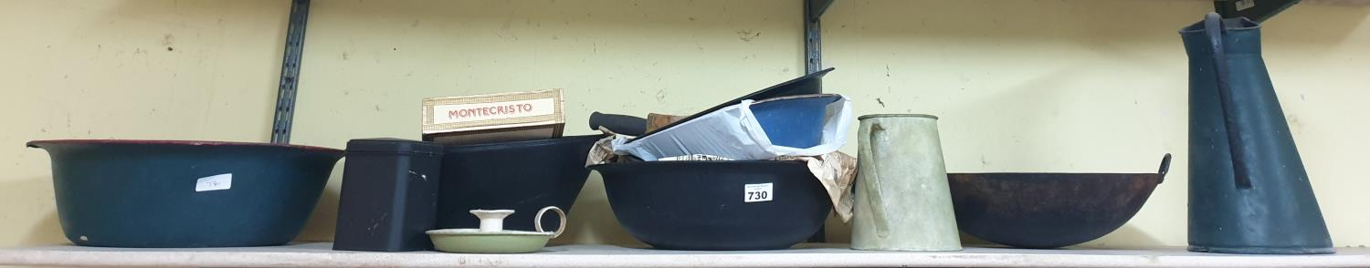 Lot 730 - A quantity of Painted Bowls and Timber Trays etc.