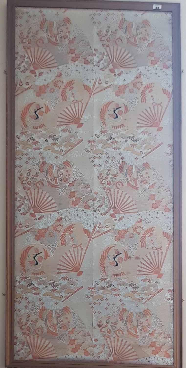 Lot 43 - A Silk style Panel of Oriental Birds in a pine frame. 72 x 163cm.