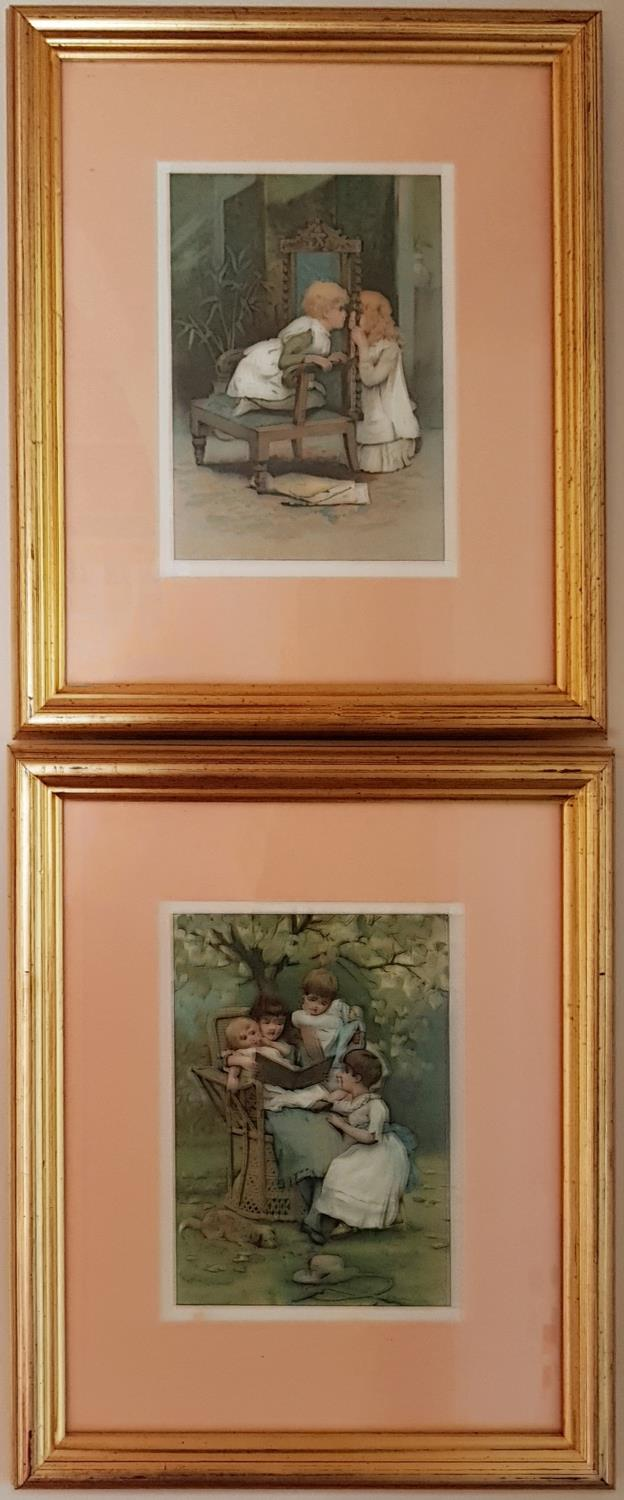 Lot 50A - A pair of Coloured Prints of children.
