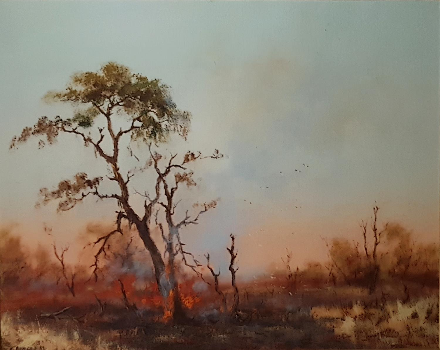 Lot 57 - A 20th Century Oil on Panel of a forest burning. Signed E Forlee and dated LL. 50cm.