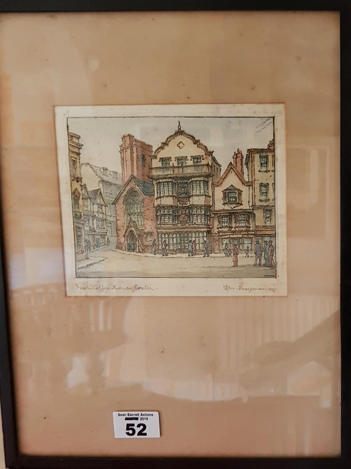Lot 52 - A 19th Century hand coloured Engraving of Exeter. 16cm.