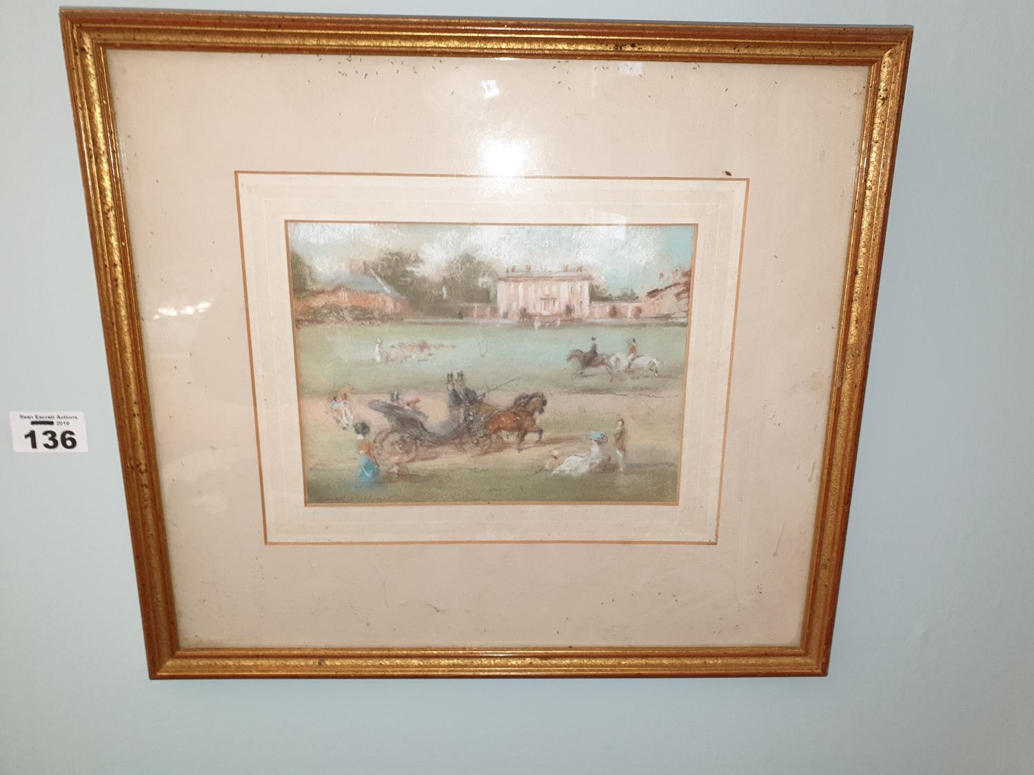 Lot 136 - A Pastel Picture of a 19th Century scene.