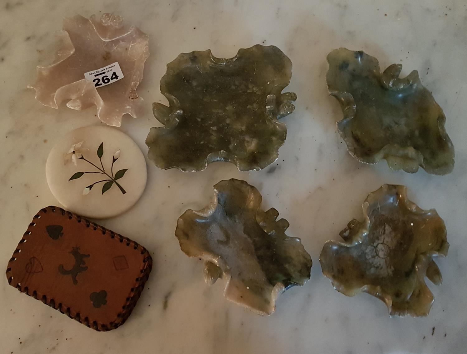 Lot 264 - A group of Jade style Stone Ashtrays along with other items.