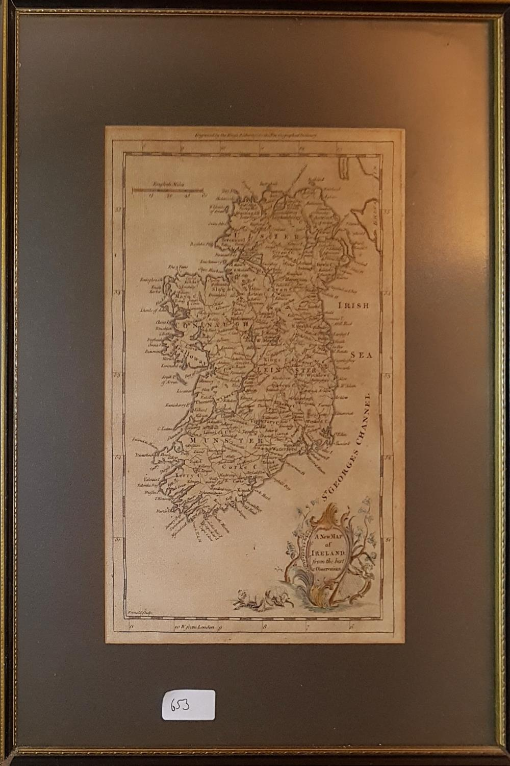 Lot 653 - A 19th Century Map of Ireland along with a 19th Century print of The Four Courts.