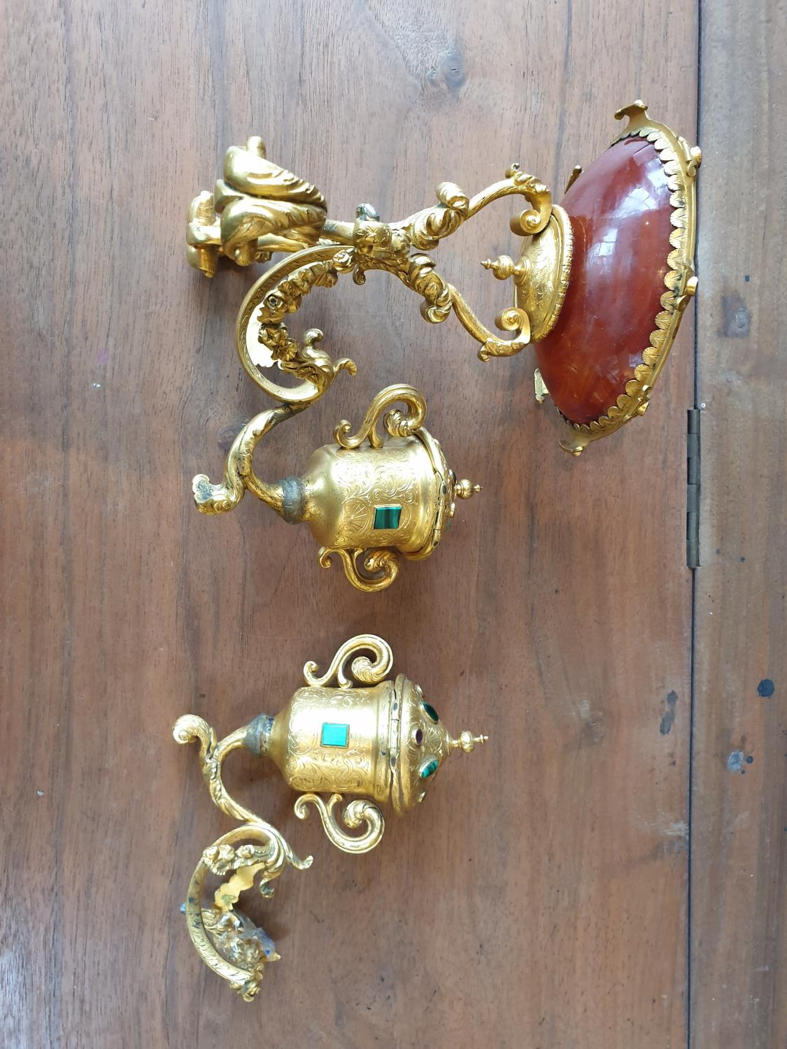 Lot 332A - A 19th Century Ormolu Urn Stand with semi precious stone mounts along with another piece.