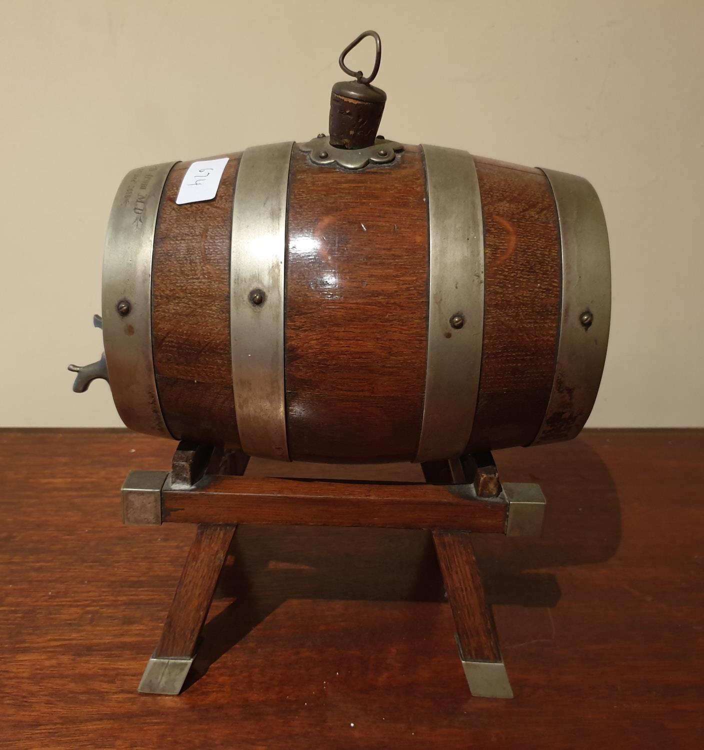 Lot 674 - A lovely 19th Century Oak bound Keg with tap with the inscription 'To J P D from M D 25th December