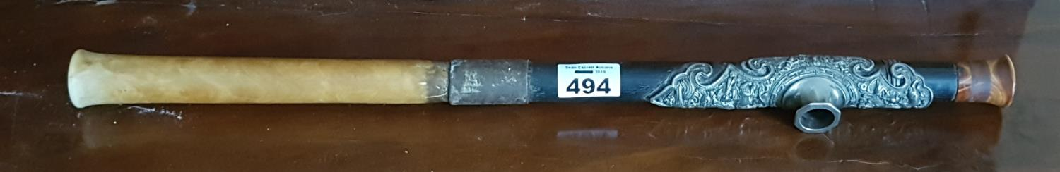 Lot 494 - A 19th Century Ebony/Bone and probably Silver Indian Opium Pipe.