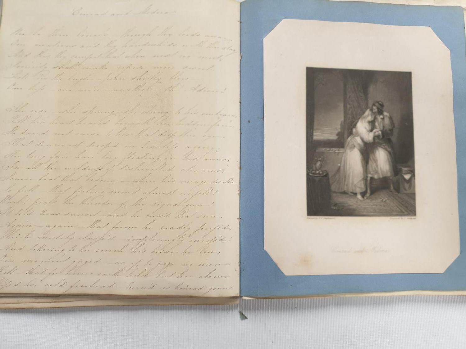 Lot 460 - A hand written book along with coloured and black and withe prints with inscriptions.