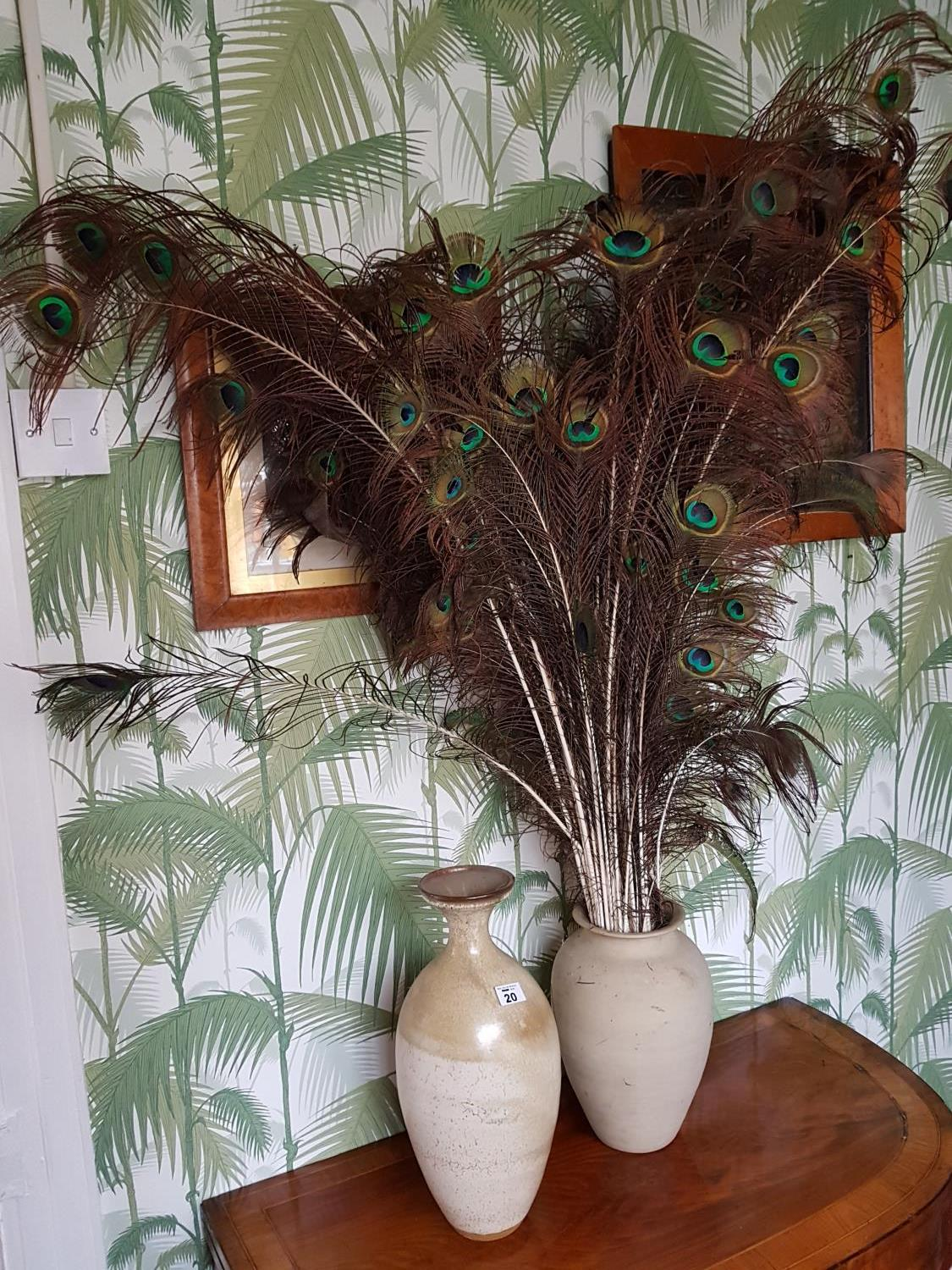 Lot 20 - Two Stoneware Vases. large 40cm, small 30cm.