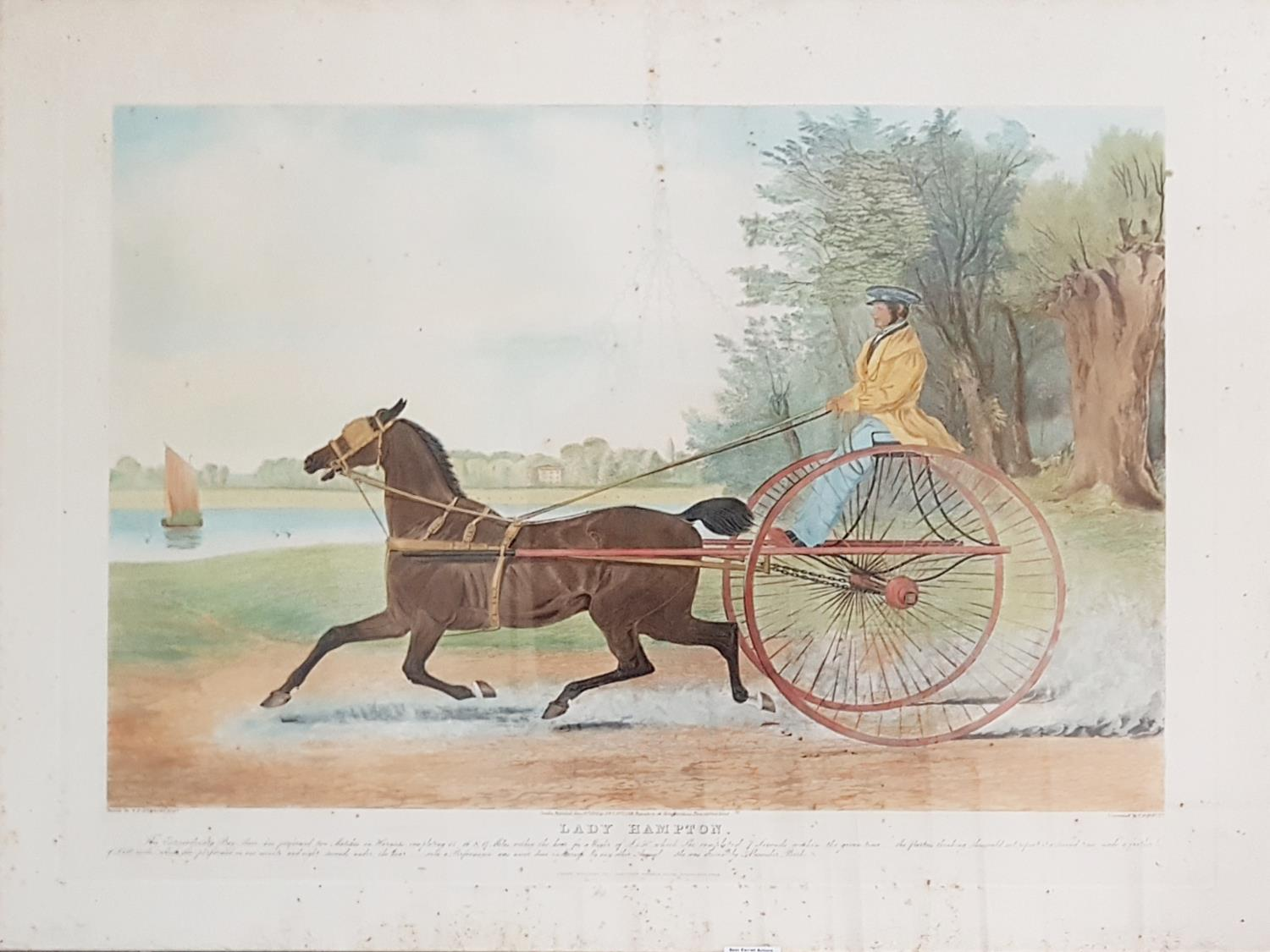 Lot 37 - A large 19th Century Coloured Engraving after Herring 'Lady Hampton'. 82cm.