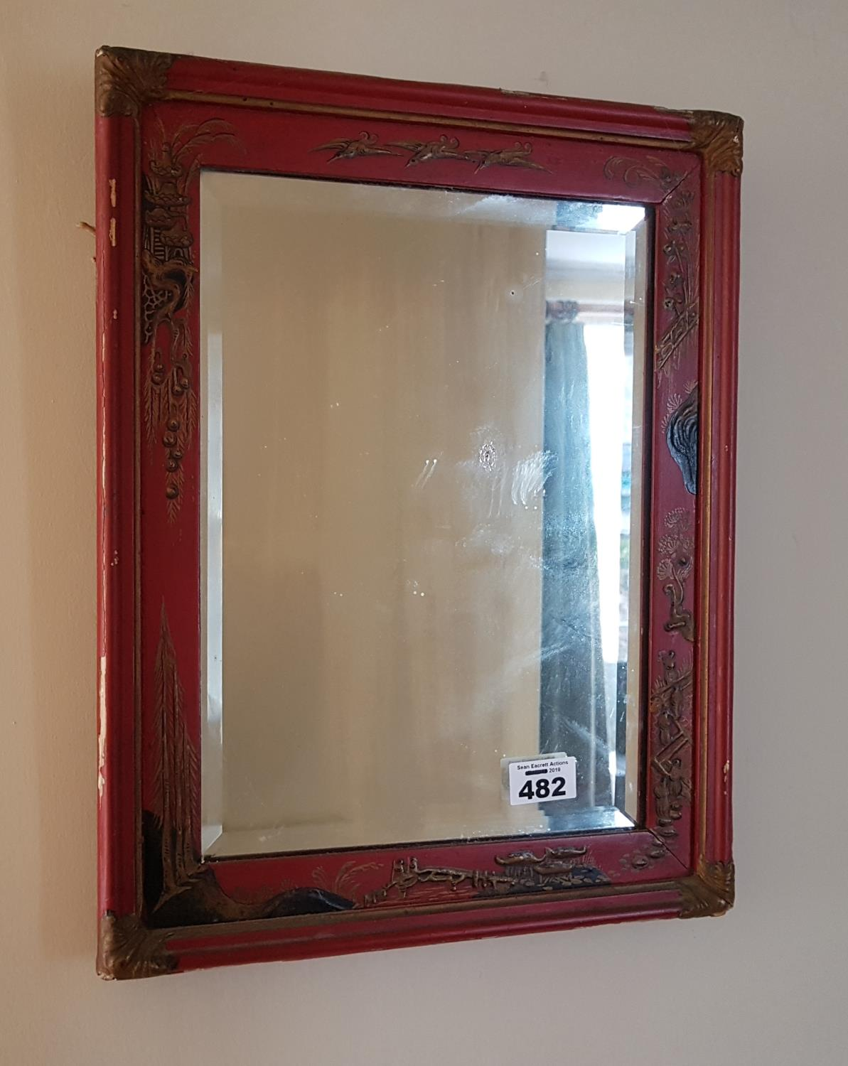 Lot 482 - A late 19th early 20th Century Chinoiserie Mirror.