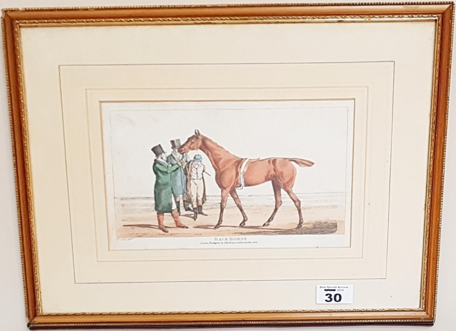 Lot 30 - A 19th Century Coloured Print 'Black Horse'.