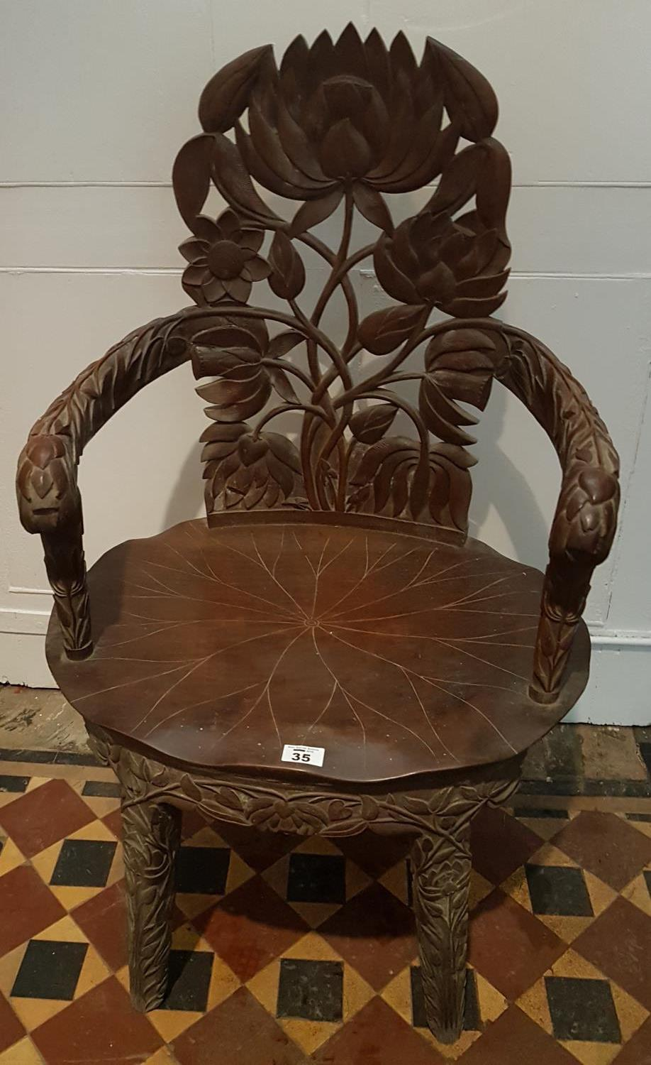 Lot 35 - A 19th Century highly carved Kashmir Chair.
