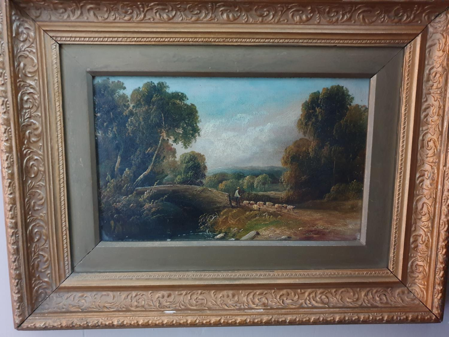 Lot 36A - A 19th Century Oil on Board of a shepherd herding his sheep down a path. 52cm.