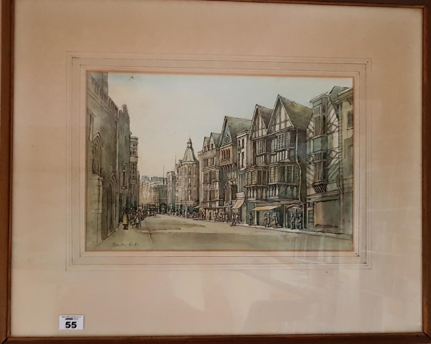 Lot 55 - A 19th Century hand coloured Engraving of Exeter. 39cm.