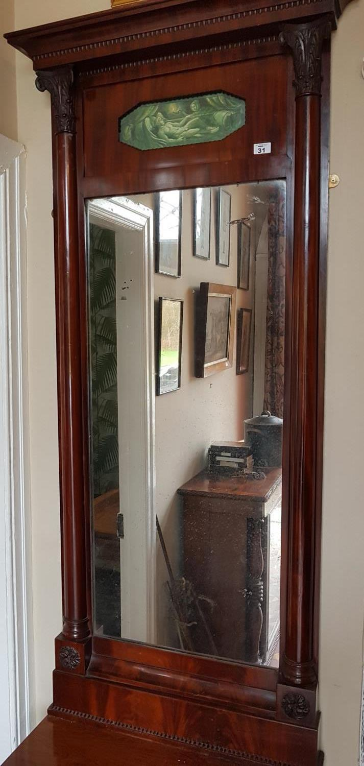 Lot 31 - A fantastic 19th Century Mahogany Pier Mirror with a painted panel top and columned outline. Circa