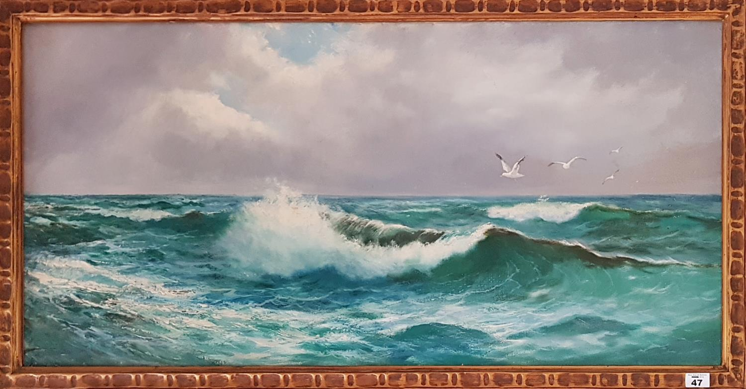 Lot 47 - Daniel Sherrin 1868 - 1940. A shoreline with rollers breaking, oil on canvas 51 x 105 cms signed