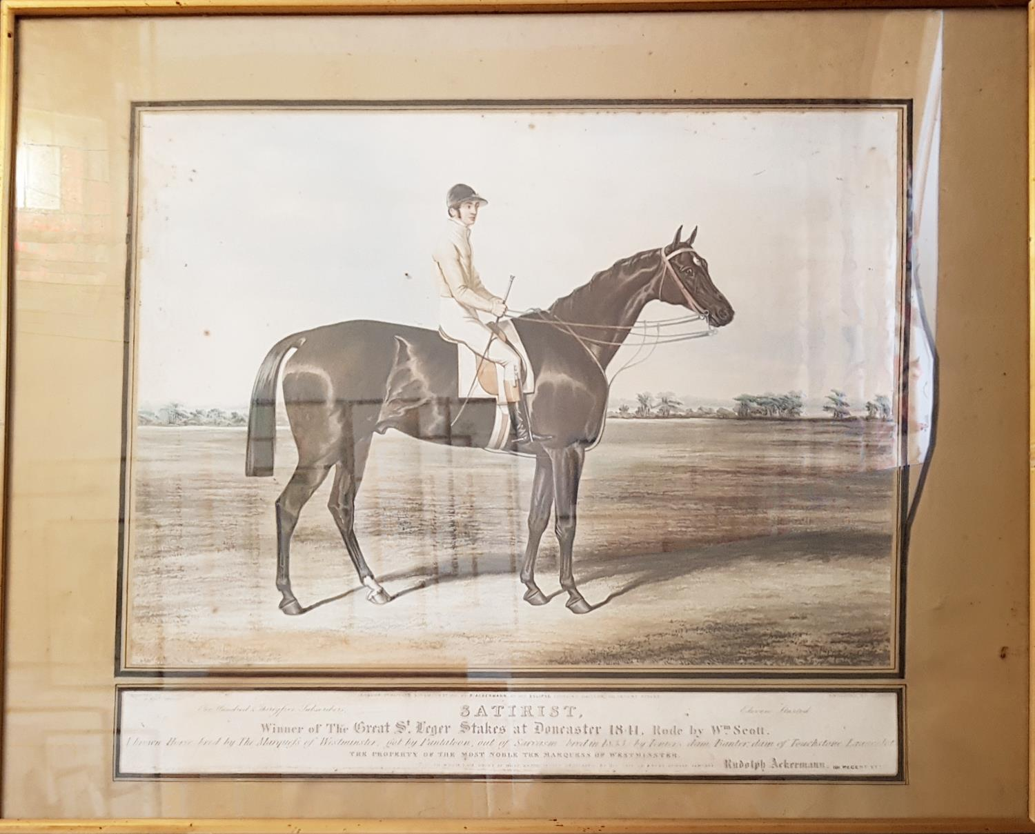 Lot 36 - Two 19th Century Ackerman Coloured Prints of Racehorses. Coronation and Satirist. In original