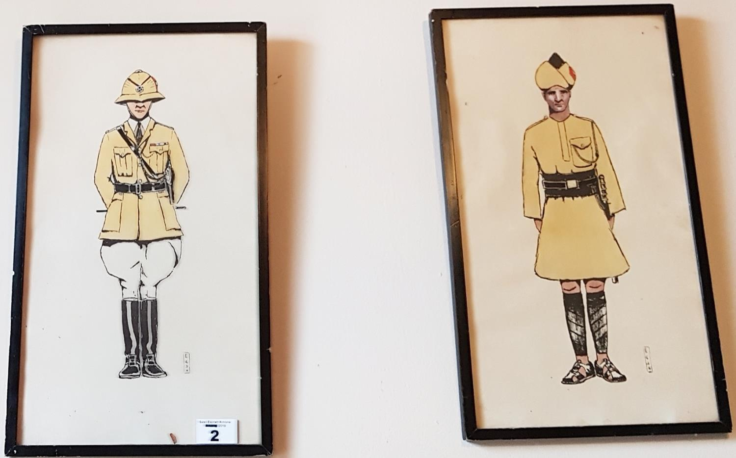 Lot 2 - A pair of 19th Century Coloured Prints of Military Officers.