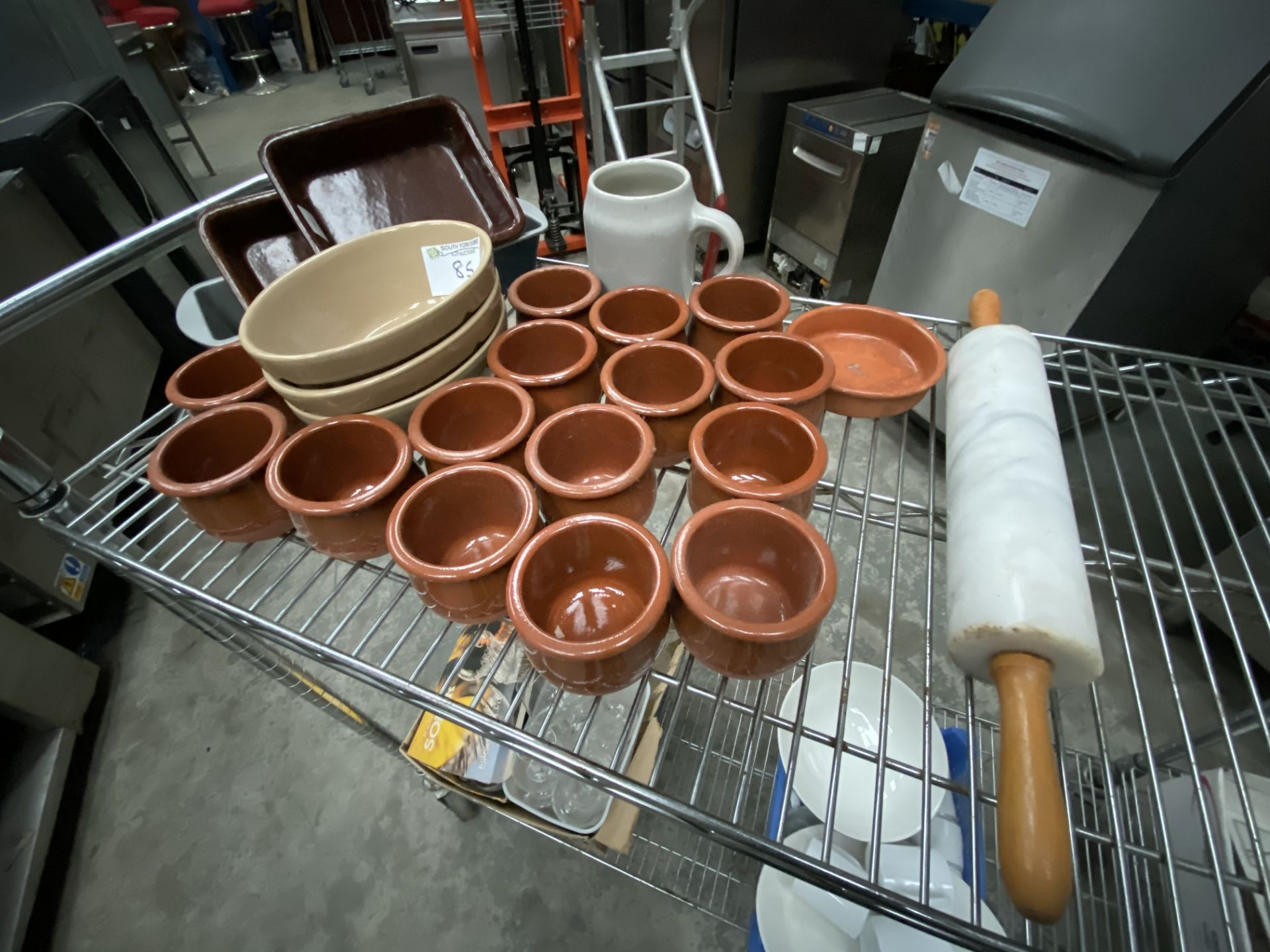 Lot 85 - Stoneware Pots, Pie Dishes Marble Rolling Pin
