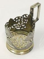 Lot 24 - RUSSIAN VINTAGE HALLMARKED SILVER GLASS HOLDER