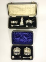 Lot 20A - Two Silver Boxed Condiments sets