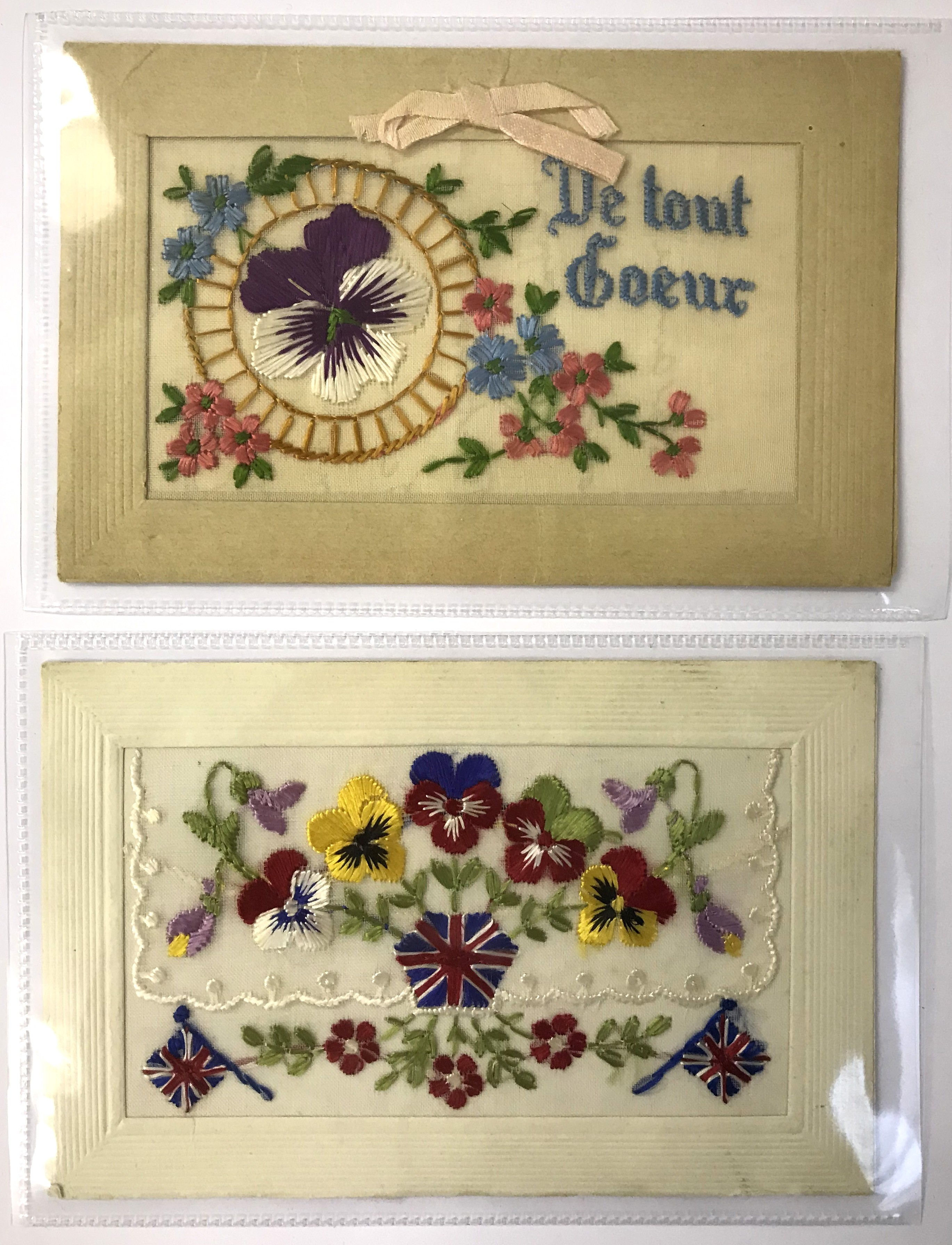 Lot 9 - SELECTION OF FIFTEEN EARLY EMBROIDERED SILK POSTCARDS