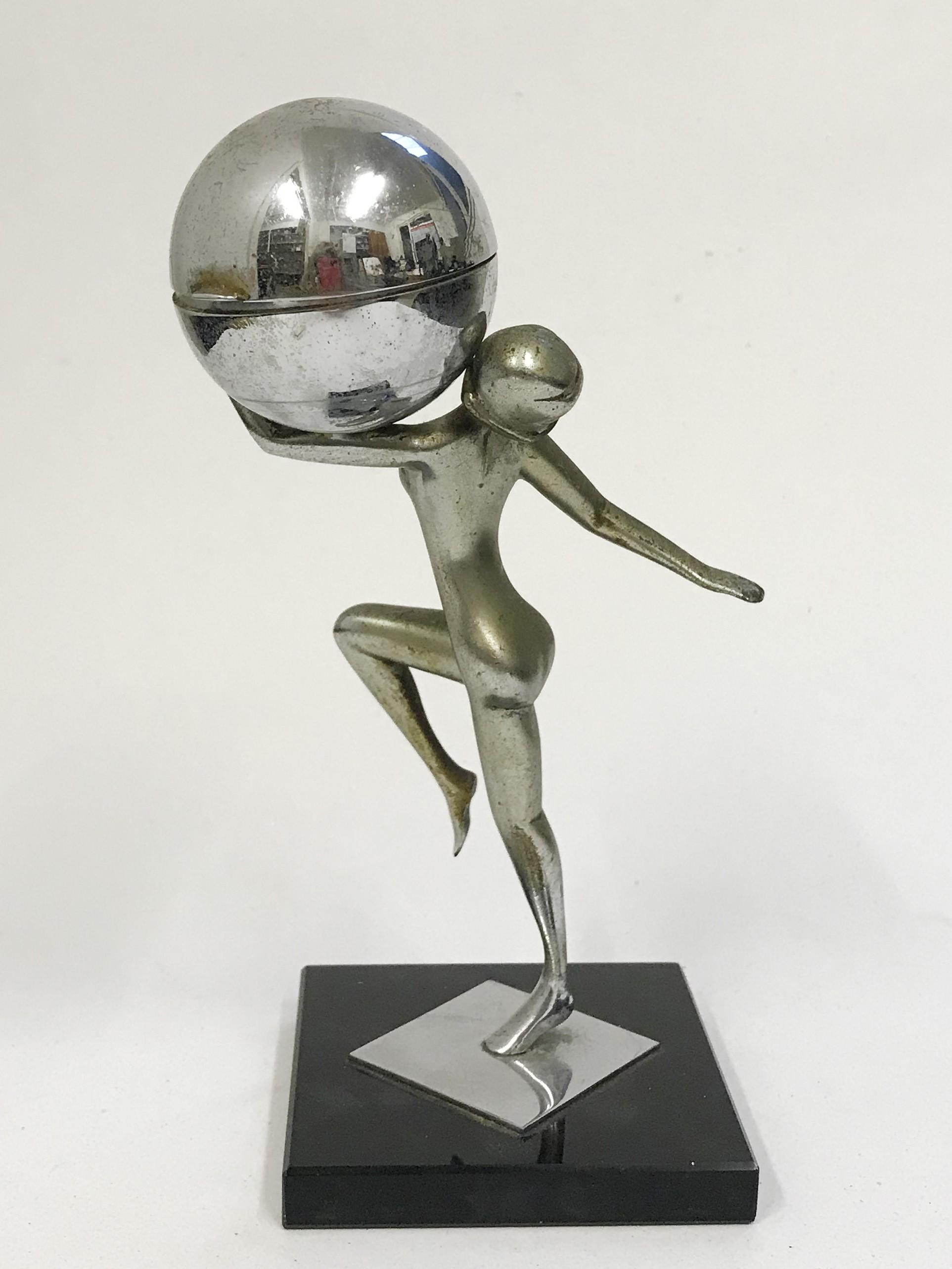 Lot 30A - Art Deco Lady & Globe Table Lighter