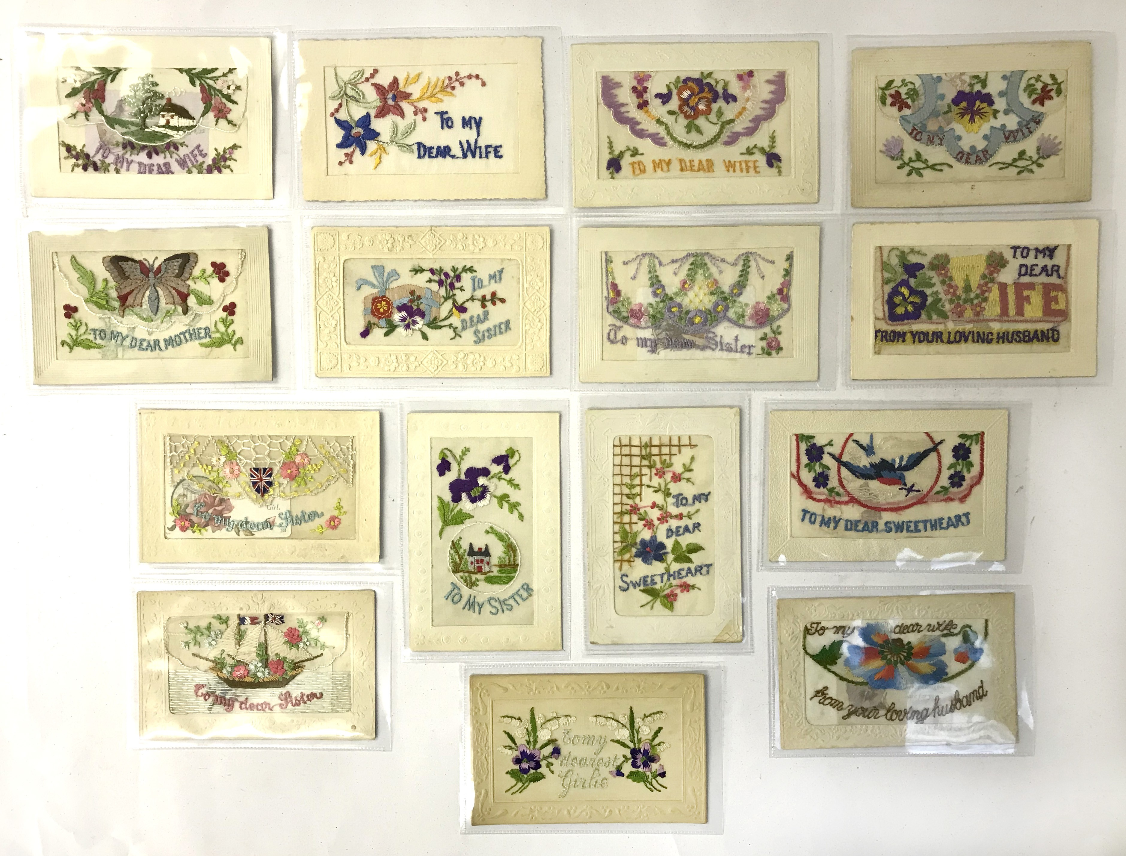 Lot 40 - SELECTION OF FIFTEEN EARLY EMBROIDERED SILK POSTCARDS IN VARIOUS CONDITION